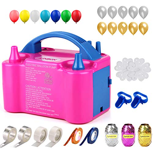 160 Pcs Balloon Pump KINBON Electric Portable Dual Nozzle Electric air Balloon Blower Pump, Electric Balloon Inflator for Party Birthday Wedding Festival