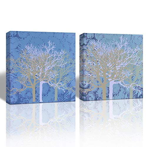 Mon Art-Abstract Picture Tree Branch Canvas Print Forest Wall Art Modern Contemporary Decoration for Office Bedroom Living Room Bathroom Retro Vintage Home Decor 12x12 inch 2 Panel,Framed,Blue (Tree Branch Framed)