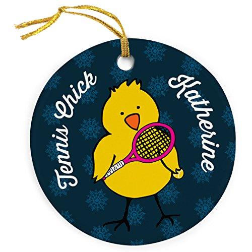 ChalkTalkSPORTS Tennis Porcelain Ornament Tennis Chick with Santa Hat Tennis Chick