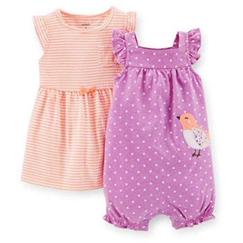 Carter's Purple Polka Dot/Orange Stripe 2-Piece Dress and Romper Set