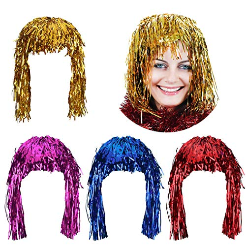 Coxeer 4PCS Hair Wig Creative Foil Tinsel Funny Party Wig Costume Supplies for Carnival ()