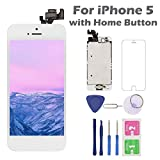 for iPhone 5 Screen Replacement with Home Button, Arotech 4.0 Inch Full Assembly LCD Display Digitizer Touch Screen with Repair Tool Kit and Tempered Glass (i5 White)