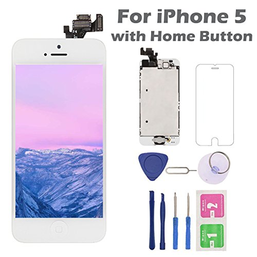 for iPhone 5 Screen Replacement with Home Button, Arotech 4.0 Inch Full Assembly LCD Display Digitizer Touch Screen with Repair Tool Kit and Tempered Glass (i5 White) (Iphone 5 Screen Replacement Only)