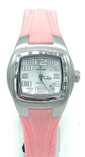 spazio24 Reloj de Mujer Correa de Silicona Rosa y Caja de Acero con Fecha – l4d036