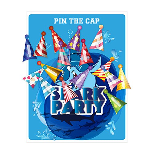Pin the Cap on the Shark Fin, Party Favor Games Party Supplies,New, Extra Tails,Pin the Tail Games