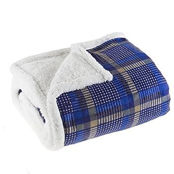 Bedford Home Plush Corduroy Sherpa Throw Blanket, Blue best