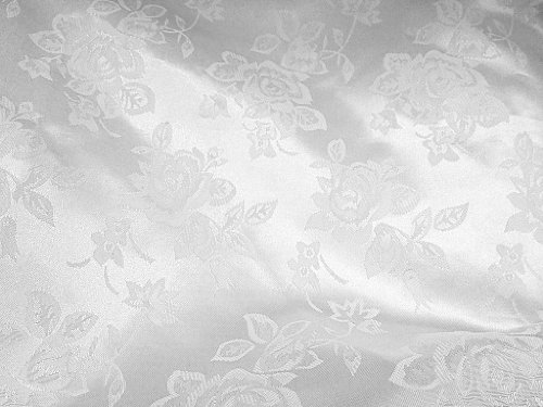 Brocade Jacquard Satin White 60 Inch Fabric By the Yard from The Fabric Exchange