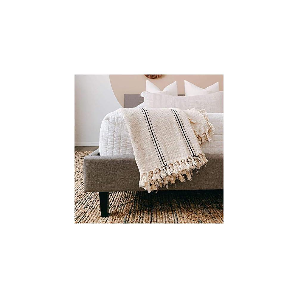 """The Loomia Sophie Turkish Cotton Boho Farmhouse Throw Blanket (Extra Large 65"""" X 85"""", Cream Ecru Base with Black Stripes)"""
