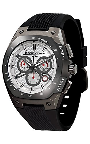 Jorg Gray Men's Quartz Watch with White Dial Chronograph Display and Black Rubber Strap JG8300-26
