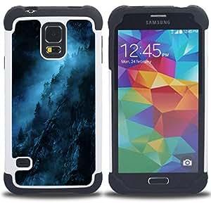 """SAMSUNG Galaxy S5 V / i9600 / SM-G900 - 3 en 1 impreso colorido de Altas Prestaciones PC Funda chaqueta Negro cubierta gel silicona suave (Noche Azul Negro misterioso oscuro"""")"""