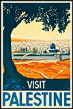 "VISIT PALESTINE TRAVEL CITY TREE JERUSALEM West Bank and the Gaza Strip TRAVEL TOURISM VINTAGE POSTER REPRO 16"" x 24"" IMAGE SIZE"