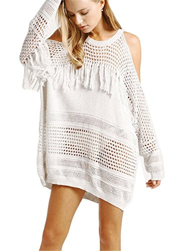 Qicool Womens Sexy Knit Lace Handmade Crochet Tassel Bikini Cover Up Swimwear Summer Beach Tops Dress