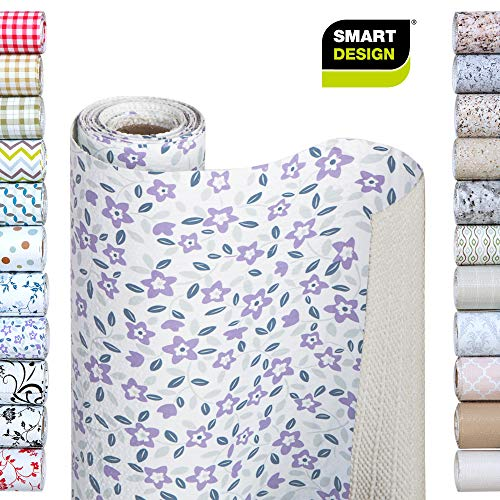 Smart Design Shelf Liner w/Bonded Grip - Wipes Clean - Cutable Material - Non Slip Design - for Shelves, Drawers, Flat Surfaces - Kitchen (12 Inch x 10 Feet) [Lavender Wildflower] (Drawer Liner Paper For Dresser)