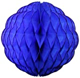 3-pack 8 Inch Honeycomb Scalloped Tissue Ball Party Decoration (Dark Blue)