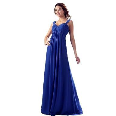 Dearta Womens Empire V-Neck Floor-Length Prom Dresses US 2 Royal Blue