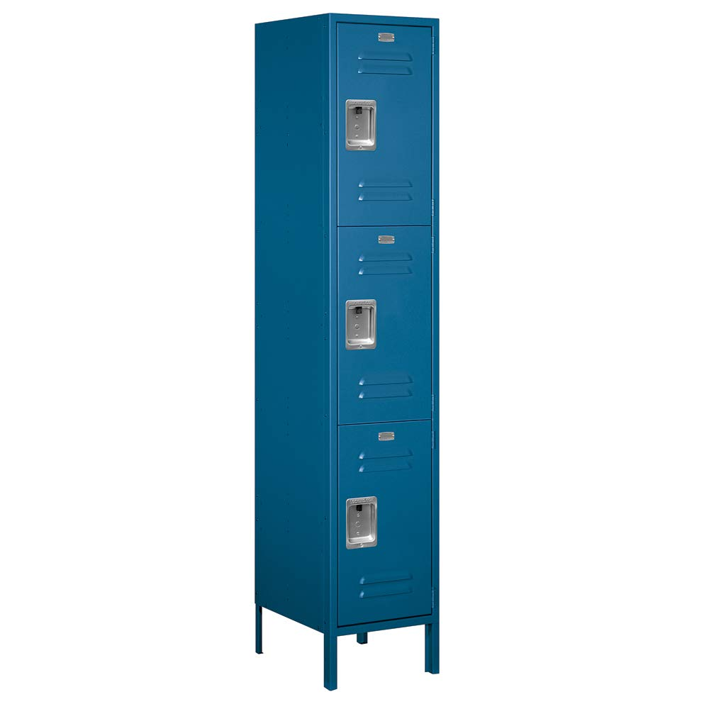 Salsbury Industries 18-53168BL-A 18'' Triple Tier Standard, 1 Wide x 6 Feet High x 18 Inches Deep, Assembled Metal Locker Blue