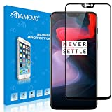 AMOVO Screen Protector for OnePlus 6 [Ultra Clear] [Case Friendly] Tempered Glass Screen Protector for OnePlus 6 [High Sensitivity] 3D Full Coverage Glass Protector for OnePlus 6 (Black, OnePlus 6)