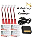 DeeRC 4 PCS 3 7V 350mAh F180C H107 HS170 25C LiPo Quadcopter Batteries To Increase Flight Time 36 Min With 5 In 1 Max 2 5A Current Fast Quadcopter Battery Charger
