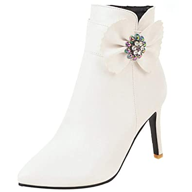 71642d0e7d04f YE Damen Stiletto Stiefeletten High Heels Ankle Boots Spitz Schleife ...