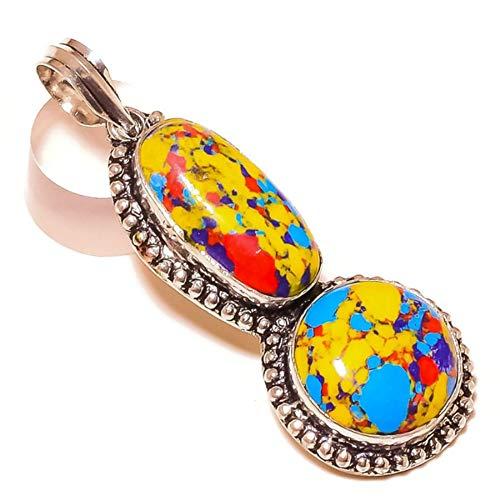 Jewels House Rainbow Mosaic Jasper Two Gemstone Silver Plated Handmade Multi Color Stone Pendant