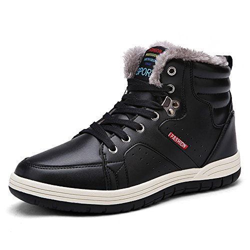 SONLLEIVOO Winter Snow Boots for Men Waterproof Lace Up Ankle Sneakers High Top Warm Shoes with Fur Lining(7.5, Black)
