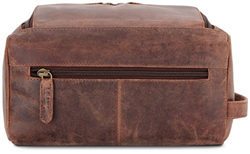 LEABAGS Palm Beach genuine buffalo leather toiletry bag in vintage style - Nutmeg by LEABAGS (Image #3)