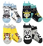 Ez Sox Toddler Boys Girls Socks Non Skid Seamless Toe Anti Slip Grip Pull Up Loops (Medium, Zebra-Giraffe-Tiger-Panda)