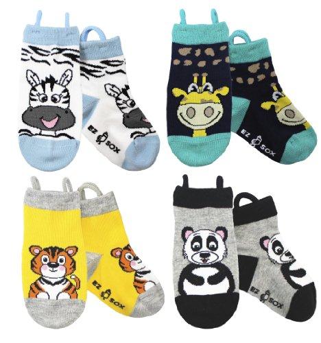 Ez Sox Kids Animal Socks 4-Pack (Shoe Size 13-3/6-9yrs (Large) , ()