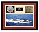 Navy Emporium USS Drum SSN 677 Framed Navy Ship Display Burgundy