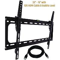 Koramzi Tilt TV Wall Mount Bracket Fits 32-70 TVs 600x400 VESA Low Profile Ultra Slim including Bubble Level & 10ft. HDMI Cable-(Black)- KWM988T
