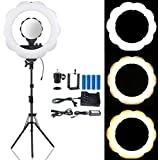 "B-Land 18-Inch Dimmable LED Ring Light (48W 6000K) with 70.5"" Light Stand, Camera Video Shooting Lighting Kit with Mirror & Phone Holder, Two Modes Rechargeable Batteries & AC Adapter Power Supply"