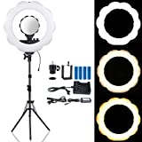 B-Land 18-Inch Dimmable LED Ring Light (48W 6000K) with 70.5'' Light Stand, Camera Video Shooting Lighting Kit with Mirror & Phone Holder, Two Modes Rechargeable Batteries & AC Adapter Power Supply