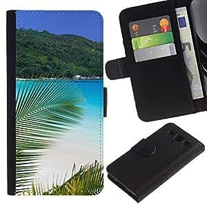 KLONGSHOP // Tirón de la caja Cartera de cuero con ranuras para tarjetas - Paradise Palm Beach - Samsung Galaxy S3 III I9300 //