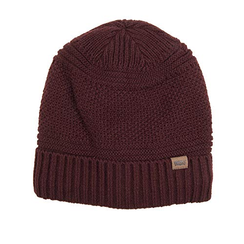 Levi's Men's Knit Cuff Beanie with Woven Label, Burgundy, One Size
