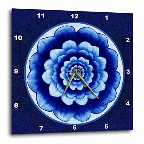 3dRose Pastel Blue and Cobalt Fantasy Mandala Flower on Royal