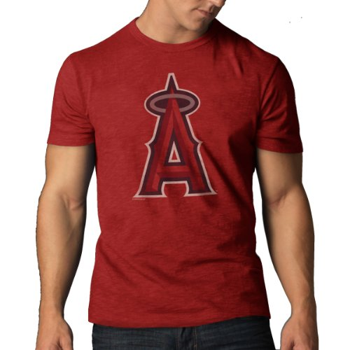 MLB Los Angeles Angels Men's Scrum Basic Tee, Small, Rescue Red