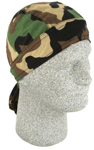Zan Headgear Flydanna Headwrap , Distinct Name: Woodland Camo, Primary Color: Green, Gender: Mens/Unisex, Size: OSFM Z118C