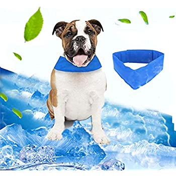 KOBWA Dog Cooling Collar, Cooling Dog Collar with Adjustable Neck Size, Dog Summer Chill Out Pet Ice Bandana, Relieves Heat Stress - Stays Cool for Hours, S 11.8 in/M 13.8 in/L 21.6 in, Blue