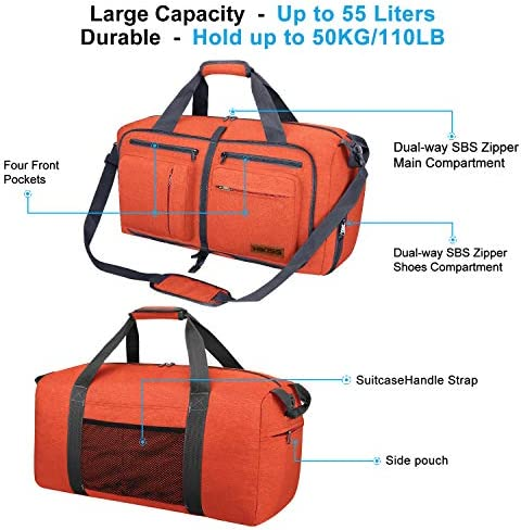 Travel Duffel Bag, 55L Foldable Duffle Bag with Shoes Compartment Packable Weekender Bag for Men Women Water-proof & Tear Resistant HIKISS-Orange