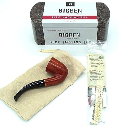 Bigben Big Ben Red Wood Bent Pipe Starter Set Kit New Gift Boxed Tin