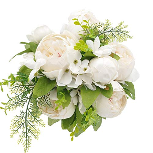 (Jasion Artificial Peony Silk Flowers Bouquet Glorious Moral for Home Office Parties and Wedding (Milk White))
