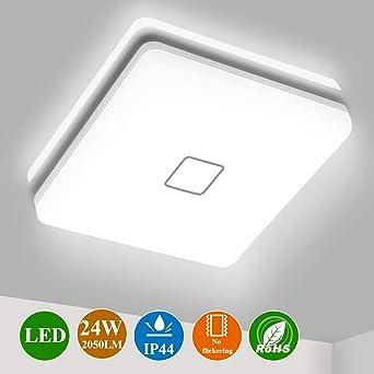 Plafon LED Techo Cuadrado, Airand 24W Lámpara Techo LED de Color Blanco Frío 5000K, Luz de Techo LED 2050LM Brillante Eficiente Energía Impermeable IP44, Para Baño, Cocina, Dormitorio y Comedor: Amazon.es: Iluminación