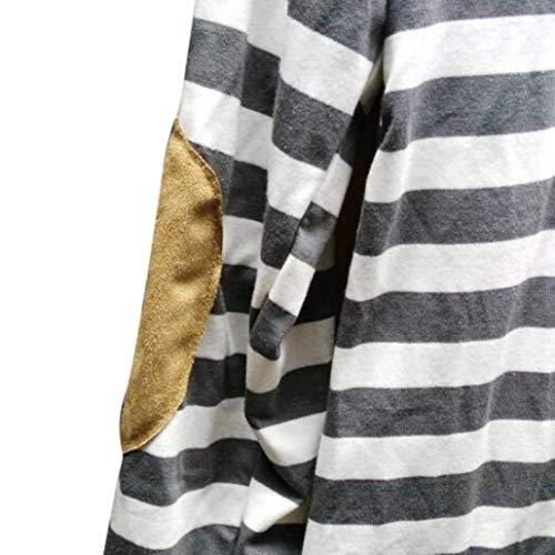 Irregular Large Asymmetric Cardigan Tricot Automne Outerwear Femme Dcontract Veste en Manteau Elgante Vintage Mode Longues Chic Printemps BOLAWOO Manches Blanc Rayures SZqawFZp