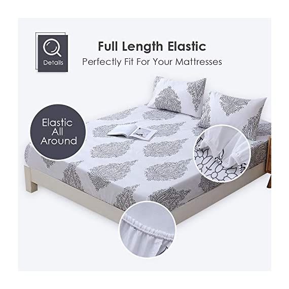 Agedate 4 Piece Brushed Microfiber Bed Sheets Set, Deep Pocket Bed Sheets Queen, Hypoallergenic, Easy to Care, Fade, Stain and Wrinkle Resistant, Queen Size, White and Black Paisley Patterned - ★〖100% Brushed Microfiber〗: Our brushed microfiber sheets are composed of extremely fine fibers of polyester, which are ultra-breathable, ultra-soft and affordable, offer you a luxury hotel-like sweet sleep experience, no more sweaty and sleepless nights. ★〖Breathable and Hypoallergenic〗: We pursue the best and adopt premium microfiber fabric which is mild and non-itching to the skin, free from stimulation, an ideal choice for allergy sufferers. ★〖Durable and Colorfast〗: Using the newest stitching technology, the sheets have high density and exquisite seam which make it will not shrink or pill. Owing silky elegant luster and higher color fastness than cotton fabrics, our bed sheet set is a great gift idea for men and women, Moms and Dads, Valentine's - Mother's - Father's Day and Christmas. - sheet-sets, bedroom-sheets-comforters, bedroom - 51revZSrBkL. SS570  -