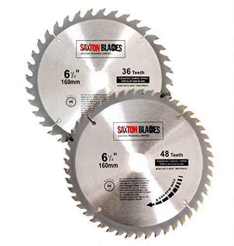 2/x Saxton TCT Lames de scie /à bois circulaire 160/mm x 20/mm pour Festool Ts55/Bosch Makita Lot dune pour scie 165/mm