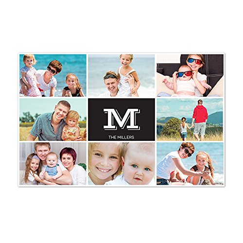 Personalized Paper Placemats - Black Monogram Photo Collage Personalized Paper Placemats