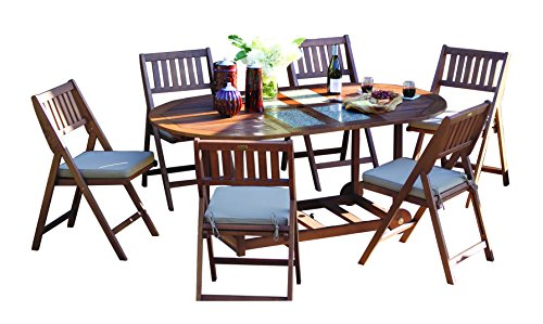 Outdoor Interiors S10666G 7-Piece Oval Fold and Store Table Set with Cushions and Cover (Furniture Store Teak)