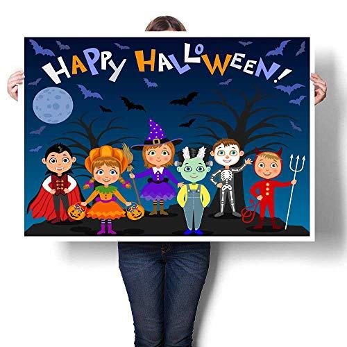 Abstract painting Happy Halloween Children in halloween costumes