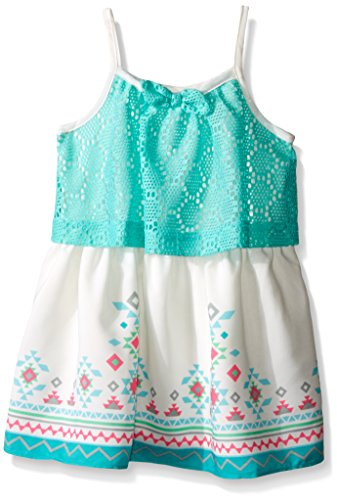 Youngland Baby Girls' Crochet Knit Popover Dress with Printed Trim, Aqua/Ivory, 12 Months