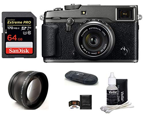 FUJIFILM X-Pro2 Mirrorless Digital Camera with XF 23mm f/2 R WR Lens (Graphite) Bundle: Includes; 64GB Extreme PRO SDXC Memory Card + 43mm Telephoto Lens + More